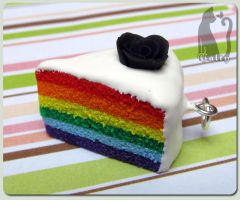 Rainbow cake with black rose by Talty