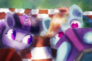 Scenes from a Picnic - Downtime with a book by porkchopsammie