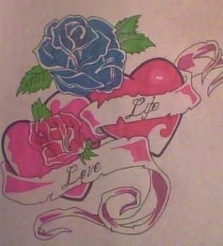 roses with love hearts by gbftattoos