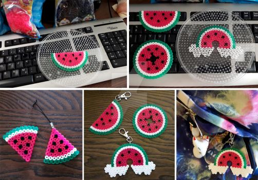 Watermelon key chains and stuff by Dinogomonni