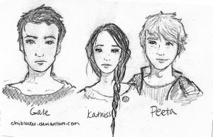 Gale Katniss and Peeta first sketches by chiblocker