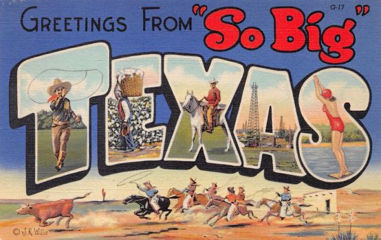Large Letter Postcard - 'So Big' Texas by Yesterdays-Paper