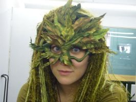 Green Woman Mask Detail by tazzasister