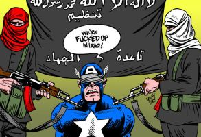 Captain America in trouble by Latuff2
