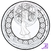 Rapunzel Stained Glass -line art- by Akili-Amethyst