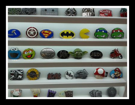 Shelf of badges by joelshine-stock