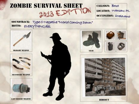 Zombie Survival Sheet - 2013 edition - personal by kodiakdesign