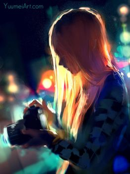 Alone Among the Lights (Tutorial Video linked) by yuumei