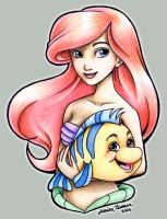 Ariel and Flounder by ArtfulJessica