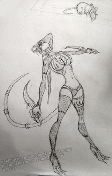 bedtime sketch #4 ~rat assassin~ by PackRatPrincess