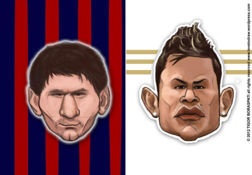 Messi vs CR7 caricature by pati88
