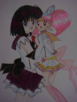 Sailor Saturn and Sailor Chibi Moon Best Friends by silvermoonmagic