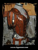 female leather armor woman by Lagueuse