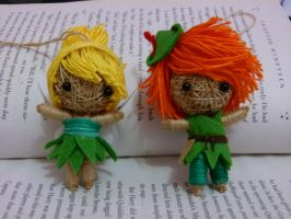 Tinker Bell and Peter Pan string doll by Em-Ar-Ae