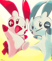 Day20 [ELECTRIC RODENT] Plusle and Minun