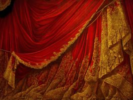 Backdrop Vintage Theater Stage Curtain - Red by EveyD