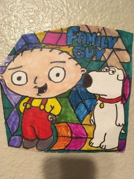 Brain Stewie Family Guy Art Colorful DesignDrawing by NWeezyBlueStars23