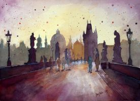 Charles Bridge, Prague, watercolor painting by jane-beata
