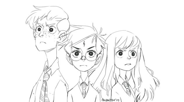 The Golden Trio Lineart by BLuwish