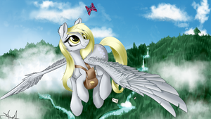 'What're you doing way up here, little guy?' Derpy by AurelleahEverfree