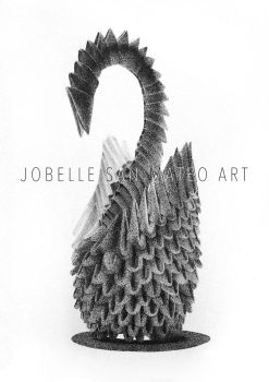 Origami Swan Drawing by jsanmateo