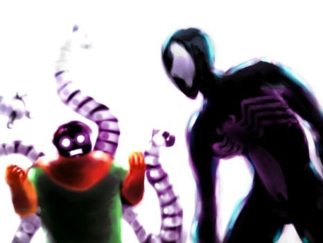 Spider vs Octopus by halcyonblack