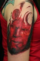 hellboy sleeve session 01 by tattooedone