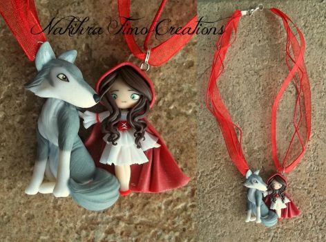 Little Red Riding Hood and Wolf Polymer Clay by Nakihra