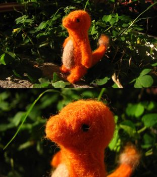 Needle Felted Charmander by ritsu--chan