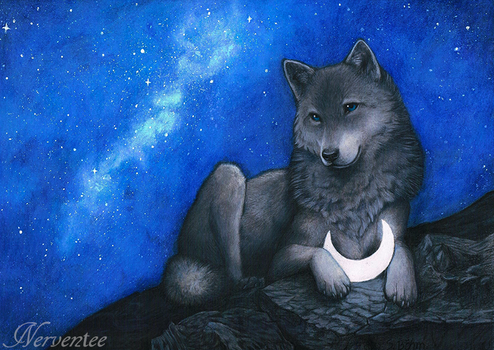 Hati and Moon by Nerventee