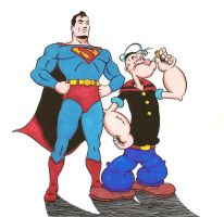 Popeye and Superman by zombiegoon