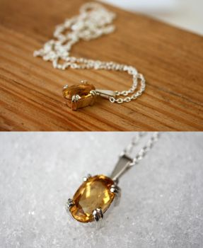 Citrine necklace with claw setting by VivianVandeviere