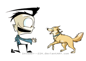 Boy and his dog by Invader--ZIM