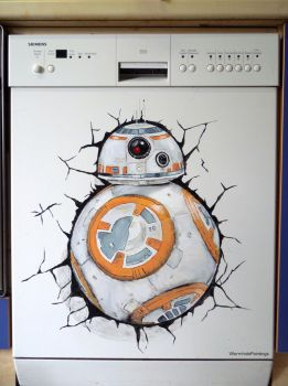 BB8 breaking out of my dishwasher :)) by WormholePaintings